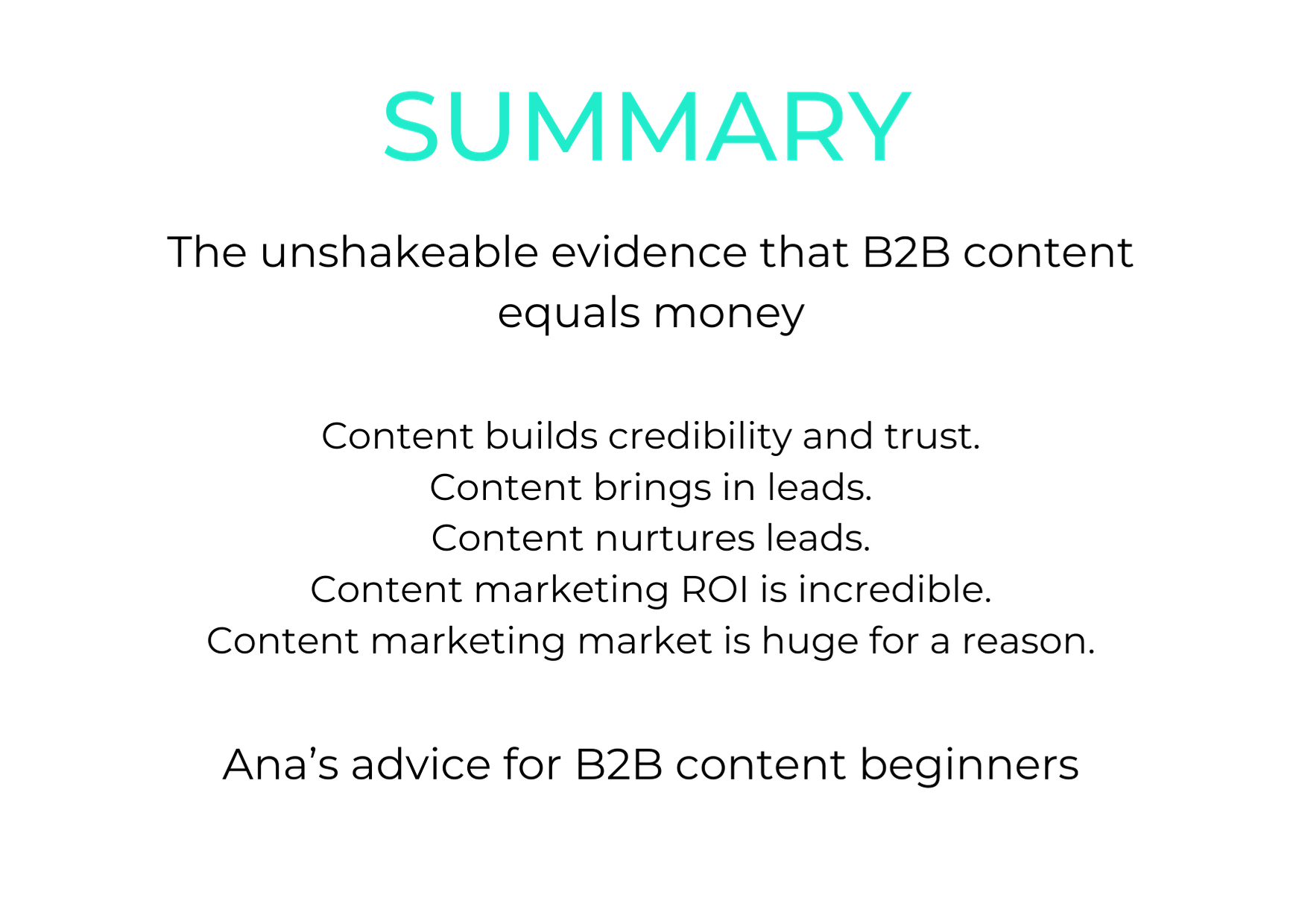 Summary of the article listed by points